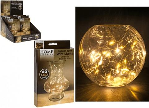 40 Mini LED Warm White Copper Tone Wire Lights