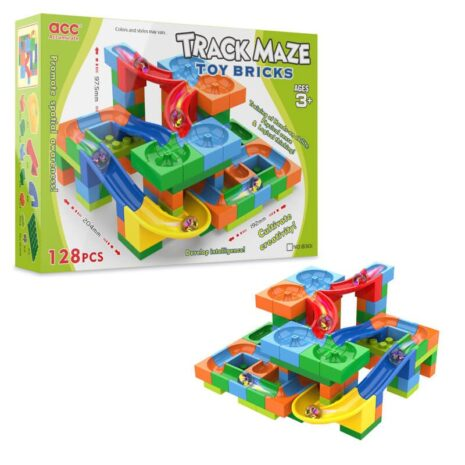 Building brick marble run track 128pc with box